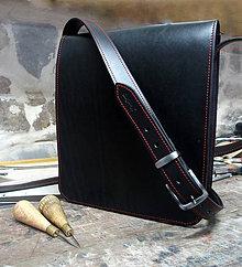 Iné tašky - Kožená messenger brašna černá - 9164272_