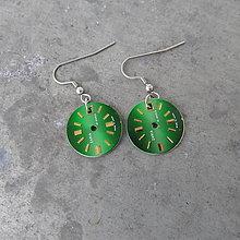 Náušnice - Náušnice z hodinek, zelené ciferníky - 9167027_