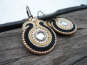 Náušnice - Soutache Náušnice Black Gold Ivory mini - 9166259_