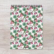 Papiernictvo - MADEBOOK špirálový blok A5 - Jahôdky - 9165970_