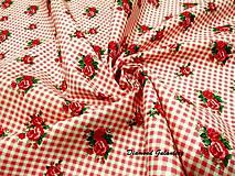 Textil - Bavlnená látka - karo ružičky - cena za 10 cm - 9165834_