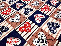 Textil - Bavlnená látka - srdiečka II - cena za 10 cm - 9165893_