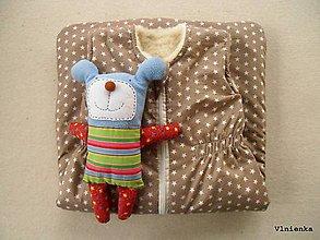 Textil - RUNO SHOP Spací vak pre deti a bábätká ZIMNÝ 100% MERINO na mieru Hviezdička béžová - 9167316_