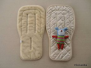 Textil - Bugaboo Donkey Twin seat liners Off White/ podložky pre dvojičky 100% MERINO wool na mieru smotanová - 9168193_