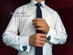 "Doplnky - Sada manžetové gombíky + ozdoba na kravatu ""Grécky modrá"" - 9164531_"