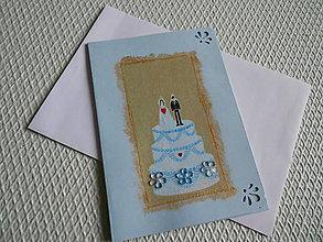 Papiernictvo - pohľadnica - svadobná torta - 9163833_