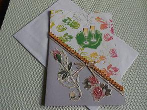 Papiernictvo - Svadobný pozdrav- pripíjame novomanželom - 9163974_