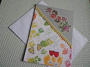 Papiernictvo - svadobný pozdrav - dve čaše vínka - 9164006_