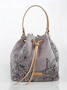 """Kabelky - Dámsky batôžtek s francúzskeho ľanu s ručnou kresbou """"BohoRosie"""" - 9166221_"""