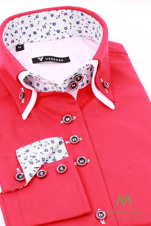 30dad2fea29c Červená dámska košeľa v slim fit strihu VS-DK 1734   Modneveci ...