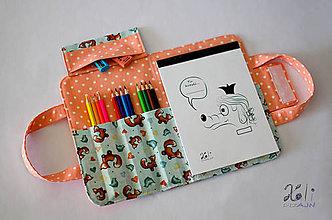 Hračky - Detský kufrík na kreslenie - pastelkovník Líštičky - 9166511_