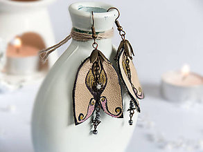 Náušnice - Náušnice: Pestré zvončeky (8 cm - Béžová) - 9166850_