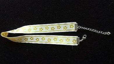 Iné šperky - obojkový náhrdelník - folk choker šírka 1,8 -2 cm (bieložltá folk stuha) - 9166376_