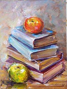 Obrazy - Knihy s jablkami - 9165307_
