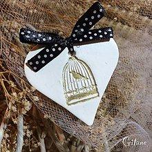 Darčeky pre svadobčanov - Keramické srdiečka -Zlatý vtáčik v klietke - 9163451_