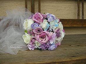 Kytice pre nevestu - svadobná kytica...neha v lila - 9164717_