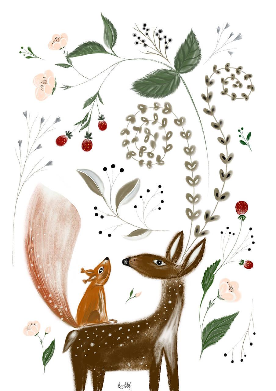 Potulky v lese ilustrácia  / reprodukcia maľba