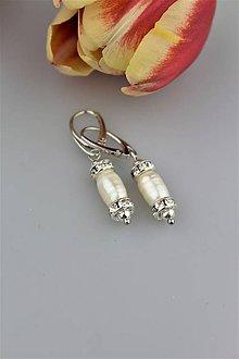 Náušnice - Perly náušnice luxusné v striebre - 9172281_