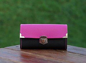 Peňaženky - Peněženka, 18 karet, 2 kapsy na drobné (Ružová) - 9168903_