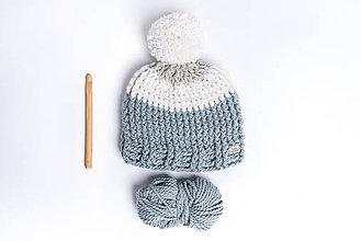 Detské čiapky - Detská modro sivá čiapka - 9172392_