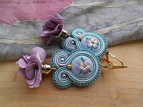Náušnice - Romantické šujtášové náušničky (Modrá) - 9169106_