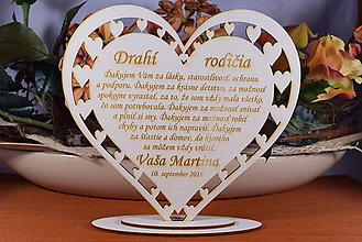 Darčeky pre svadobčanov - Poďakovanie Rodičom srdce vyrezávané 11 - 9169207_