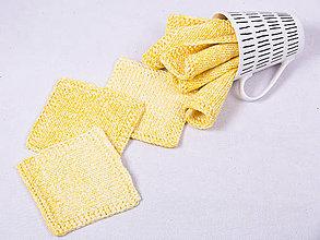 Úžitkový textil - Pletené podložky - podšálky - žltý melír - 9169895_
