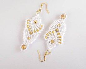 Náušnice - Svadobné náušnice bielo-zlaté - 9171605_