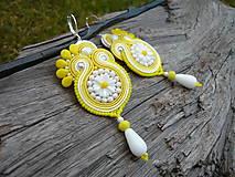 - Soutache Náušnice Margarétky Žlto-biele - 9177365_