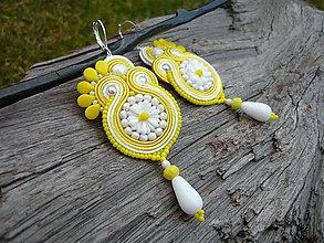 Náušnice - Soutache Náušnice Margarétky Žlto-biele - 9177365_