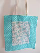Nákupné tašky - Taška - tyrkysové srdce - 9176750_