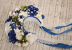 Modrá svadobná dvojradová parta