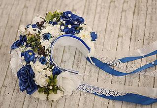 Ozdoby do vlasov - Modrá svadobná dvojradová parta - 9175961_