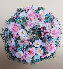 Dekorácie - romantický veniec mint, ružová, biela - 9174531_