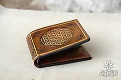 Peňaženky - Kožená peňaženka VI. Kvet života - 9176227_