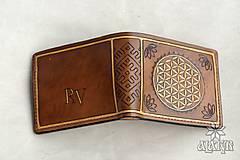 Peňaženky - Kožená peňaženka VI. Kvet života - 9176233_