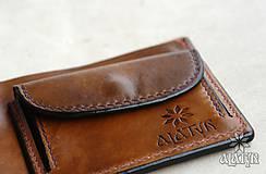 Peňaženky - Kožená peňaženka VI. Kvet života - 9176235_