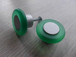 Dekorácie - Úchytka plastová, okrúhla, matná zelená - 9173247_