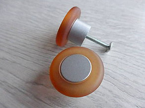 Dekorácie - Úchytka plastová, okrúhla, matná oranžová - 9173256_