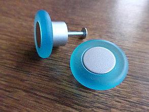 Dekorácie - Úchytka plastová, okrúhla, matná modrá - 9173274_