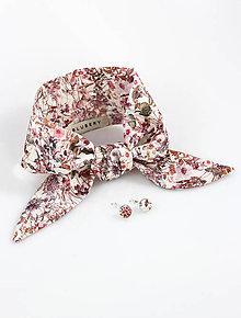 Šatky - Dámsky elegantný set - šatka a náušnice z exkluzívnej látky Liberty London - 9175336_