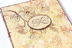 Papiernictvo - Béžovo-červená svadobná kniha hostí s kvetmi - 9173801_