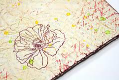 Papiernictvo - Béžovo-červená svadobná kniha hostí s kvetmi - 9173804_