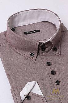 Košele - Pánska hnedá košeľa VS-PK-1736 - 9173661_