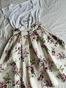 Sukne - Bordové kvety - 9175050_