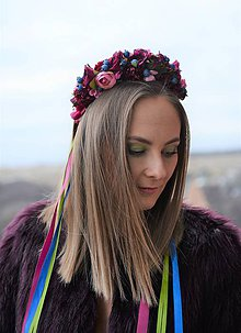 Ozdoby do vlasov - Svadobná parta bordová nežnosť - 9175602_