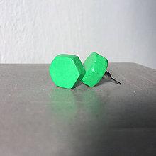 Náušnice - Betónky Hex nuts green 01 - 9176686_