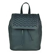 - Kožený ručne vyšívaný ruksak v čiernej farbe - 9175953_
