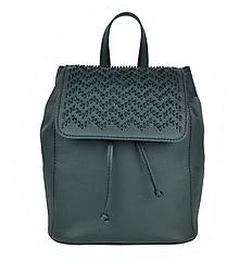 Batohy - Kožený ručne vyšívaný ruksak v čiernej farbe - 9175953_