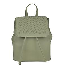 Batohy - Kožený ručne vyšívaný ruksak v bežovej farbe-béžové vyšívanie - 9176031_